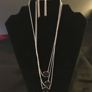 Three tier necklace/earring set